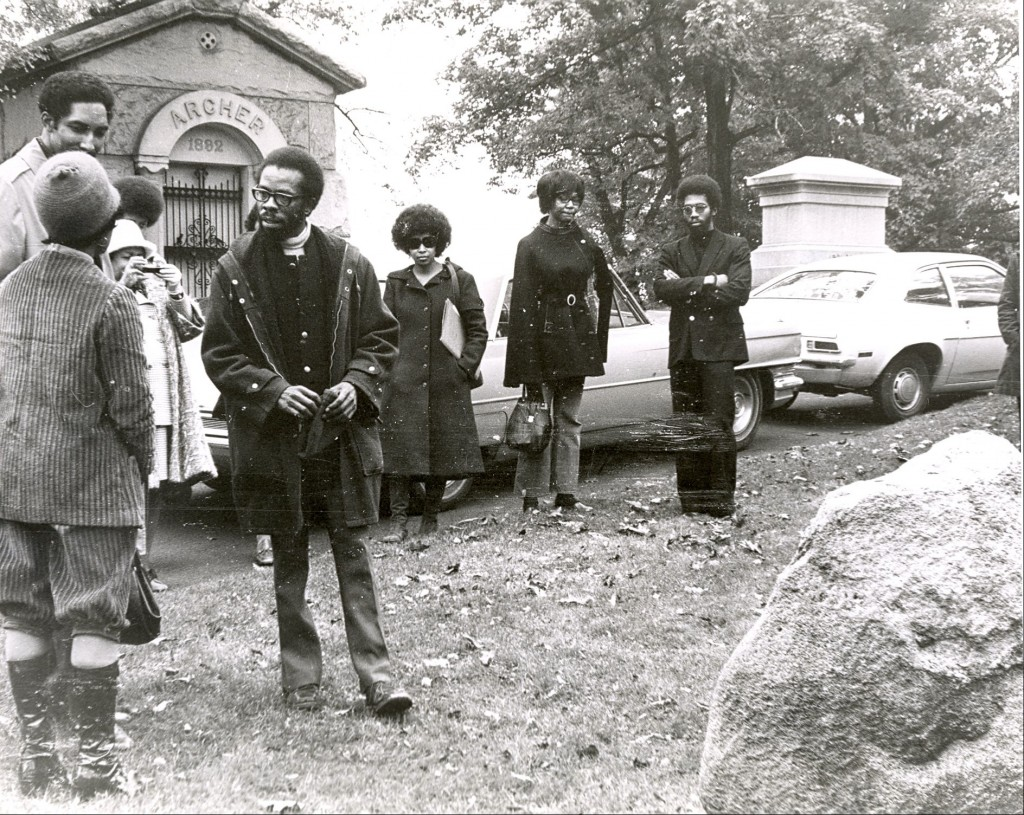 Paulene Myers, actress (with back to camera), Raymond Patterson, poet, Margaret Walker, Paula Giddings's afro towering over Margaret Walker, Herbert Martin (center), Gwendolyn Etter-Lewis, critic, unidentified woman,Lorenzo Thomas, poet.
